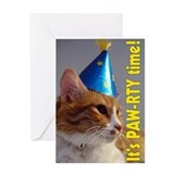 It's Paw-rty Time Cat Greeting Card