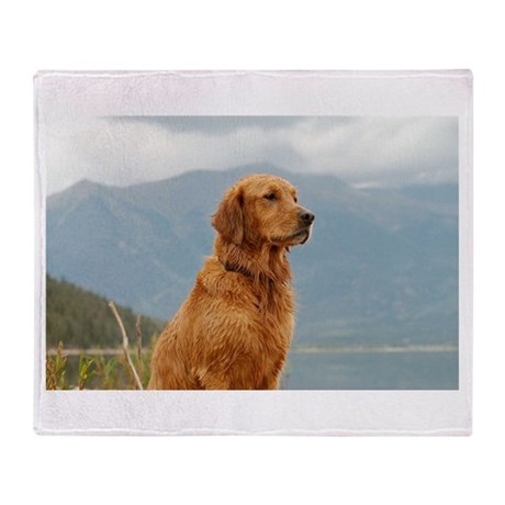 Golden Retriever Lake Throw Blanket