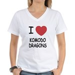 I heart komodo dragons Women's V-Neck T-Shirt