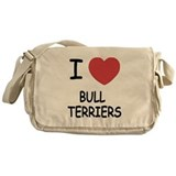 I heart bull terriers Messenger Bag