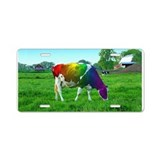 Rainbow Cow Aluminum License Plate
