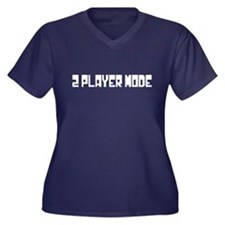 2 PLAYER MODE Women's Plus Size V-Neck Dark T-Shir