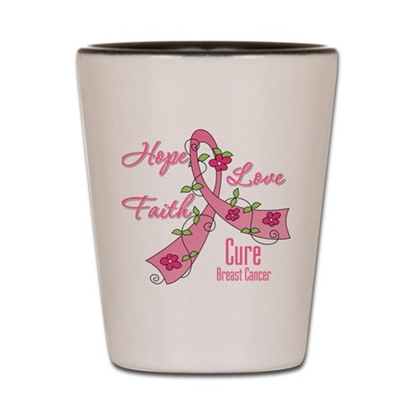 Hope Faith Breast Cancer Shot Glass
