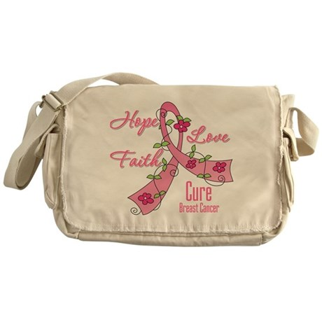 Hope Faith Breast Cancer Messenger Bag