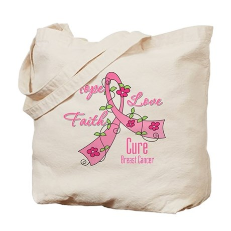 Hope Faith Breast Cancer Tote Bag