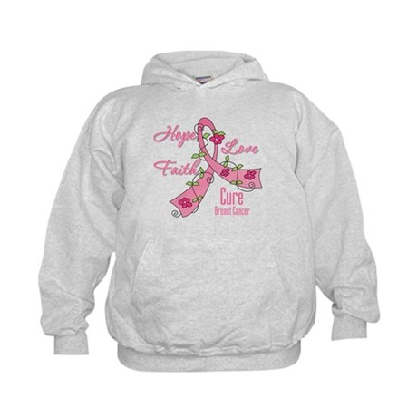 Hope Faith Breast Cancer Kids Hoodie