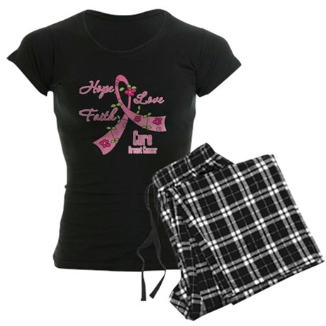 Hope Faith Breast Cancer Women's Dark Pajamas