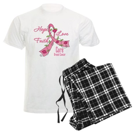 Hope Faith Breast Cancer Men's Light Pajamas