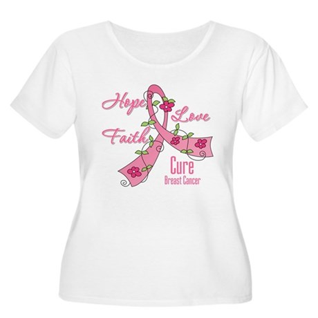 Hope Faith Breast Cancer Women's Plus Size Scoop N