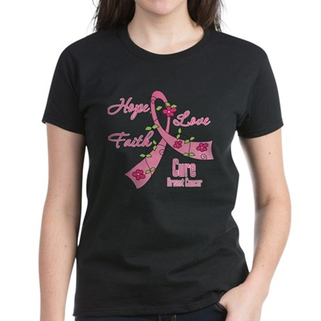 Hope Faith Breast Cancer Women's Dark T-Shirt