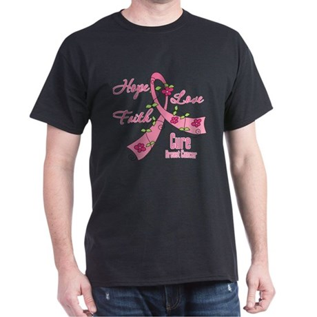 Hope Faith Breast Cancer Dark T-Shirt