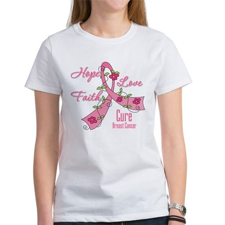 Hope Faith Breast Cancer Women's T-Shirt
