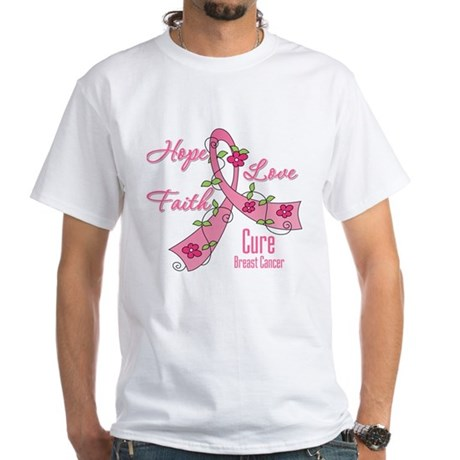 Hope Faith Breast Cancer White T-Shirt