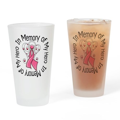 In Memory Breast Cancer Drinking Glass