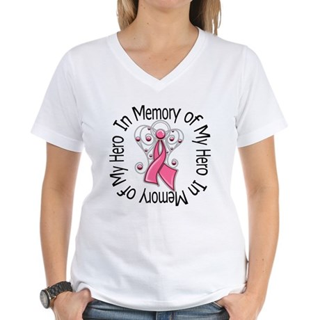 In Memory Breast Cancer Women's V-Neck T-Shirt