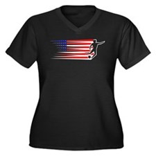 Football - USA Women's Plus Size V-Neck Dark T-Shi