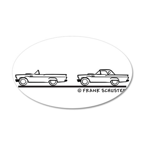 Two 1957 Ford Thunderbird 38.5 x 24.5 Oval Wall Pe