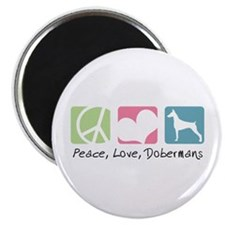 "Peace, Love, Dobermans 2.25"" Magnet (10 pack)"