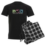 Peace, Love, Doodles Men's Dark Pajamas