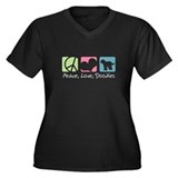 Peace, Love, Doodles Women's Plus Size V-Neck Dark