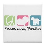 Peace, Love, Doodles Tile Coaster