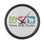 Peace, Love, Doodles Large Wall Clock