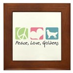 Peace, Love, Goldens Framed Tile