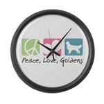 Peace, Love, Goldens Large Wall Clock