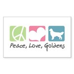Peace, Love, Goldens Sticker (Rectangle 50 pk)