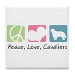 Peace, Love, Cavaliers Tile Coaster