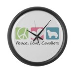 Peace, Love, Cavaliers Large Wall Clock