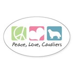 Peace, Love, Cavaliers Sticker (Oval 50 pk)