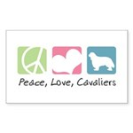 Peace, Love, Cavaliers Sticker (Rectangle 10 pk)