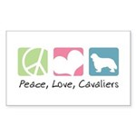 Peace, Love, Cavaliers Sticker (Rectangle 50 pk)