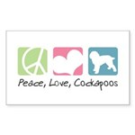Peace, Love, Cockapoos Sticker (Rectangle 50 pk)