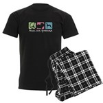 Peace, Love, Greyhounds Men's Dark Pajamas