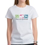 Peace, Love, Greyhounds Women's T-Shirt
