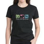 Peace, Love, Greyhounds Women's Dark T-Shirt