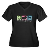 Peace, Love, Greyhounds Women's Plus Size V-Neck D