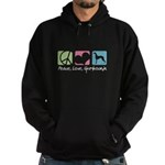 Peace, Love, Greyhounds Hoodie (dark)