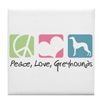 Peace, Love, Greyhounds Tile Coaster