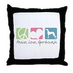 Peace, Love, Greyhounds Throw Pillow