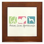 Peace, Love, Greyhounds Framed Tile
