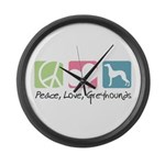 Peace, Love, Greyhounds Large Wall Clock