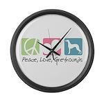 Peace, Love, Greyhounds Large Wall Clock