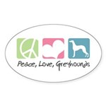 Peace, Love, Greyhounds Sticker (Oval 10 pk)