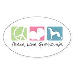 Peace, Love, Greyhounds Sticker (Oval 10 pk)