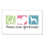 Peace, Love, Greyhounds Sticker (Rectangle 50 pk)