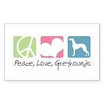 Peace, Love, Greyhounds Sticker (Rectangle 50 pk)