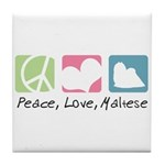 Peace, Love, Maltese Tile Coaster